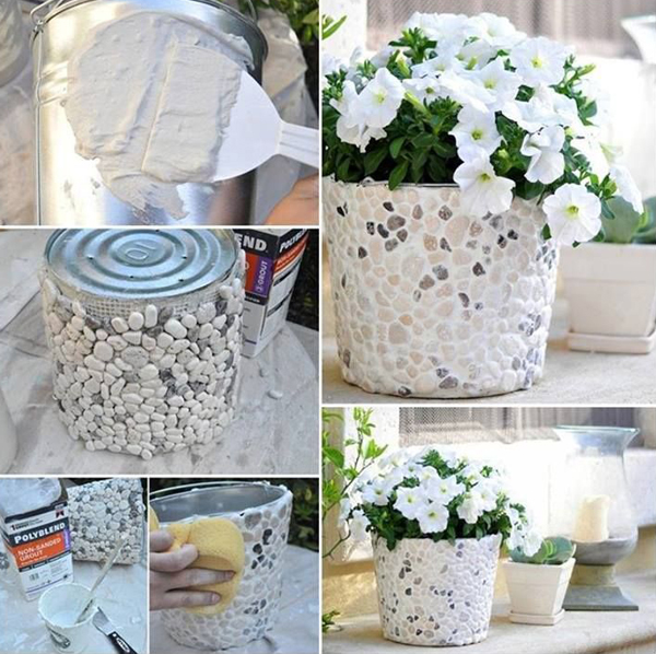 DIY-rock-bucket-planters