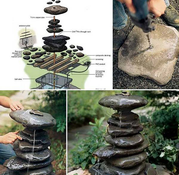 DIY-stacked-rock-fountain-ideas
