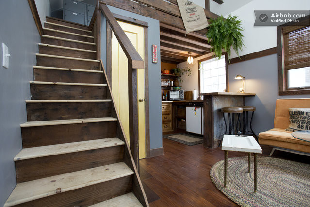 Rustic-Tiny-House-Portland-AirBnB-Staircase-Humble-Homes