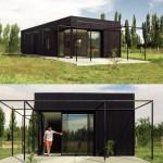 บ้านทรงกล่องสีดำ การพักผ่อนสไตล์คนสมัยใหม่ ดีไซน์ให้โดดเด่นกลางทุ่งหญ้า