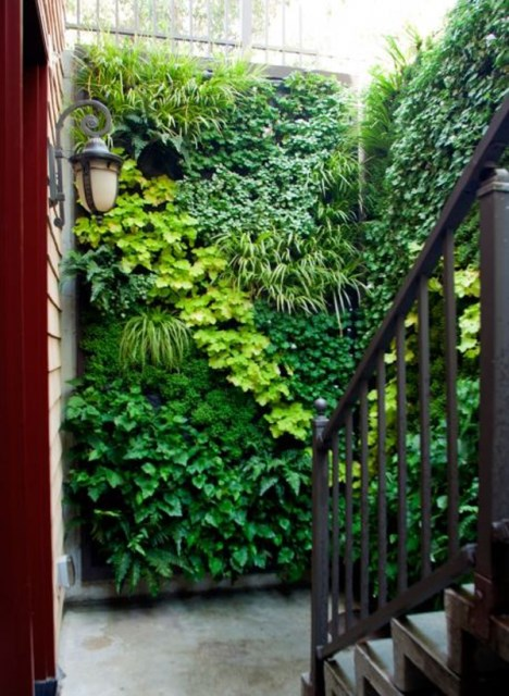 rustic-vertical-garden-with-staircase-design