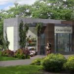 แบบร้านขายดอกไม้ สไตล์โมเดิร์น เหมาะสำหรับปรับเป็นร้านกาแฟ คาเฟ่ ต่างๆได้ดี