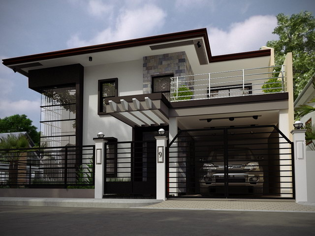 2 storey black flatted roof luxurious modern house (1)