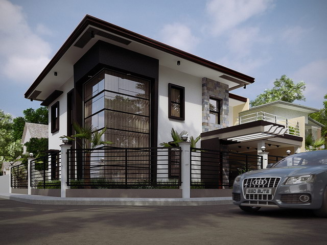 2 storey black flatted roof luxurious modern house (2)