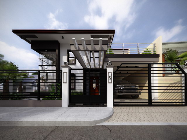 2 storey black flatted roof luxurious modern house (3)
