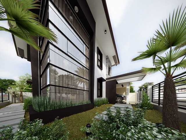 2 storey black flatted roof luxurious modern house (4)
