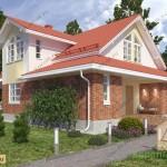 แบบบ้านอิฐขนาดสองชั้น ประดับด้วยโทนสีน้ำตาล มาพร้อมเฉลียงเปิดรับภายนอก