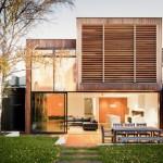 แบบบ้านหน้าแคบสไตล์โมเดิร์น สวยเด่นด้วยไม้ พร้อมดีไซน์แบบโปร่งโล่งและชวนมอง