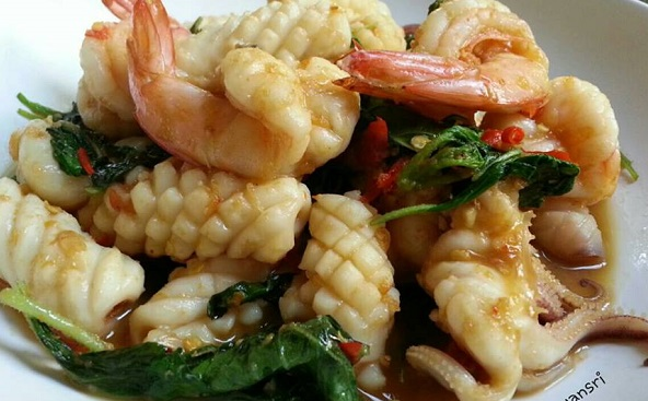seafood fried basil recipe cover