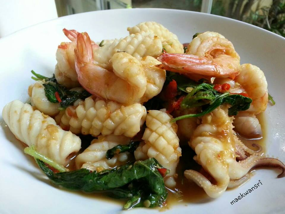 seafood fried basil recipe