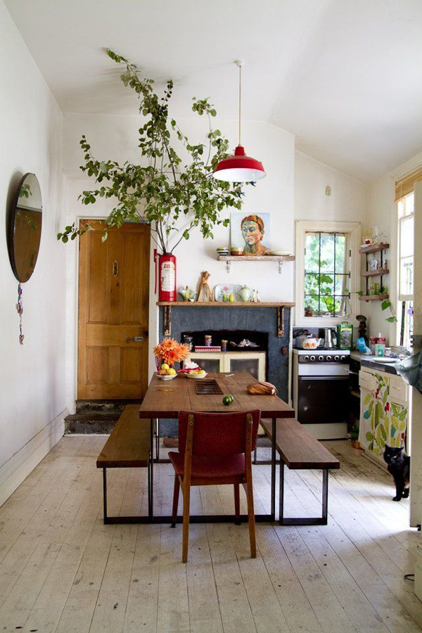 bohemian-kitchen-with-indoor-garden