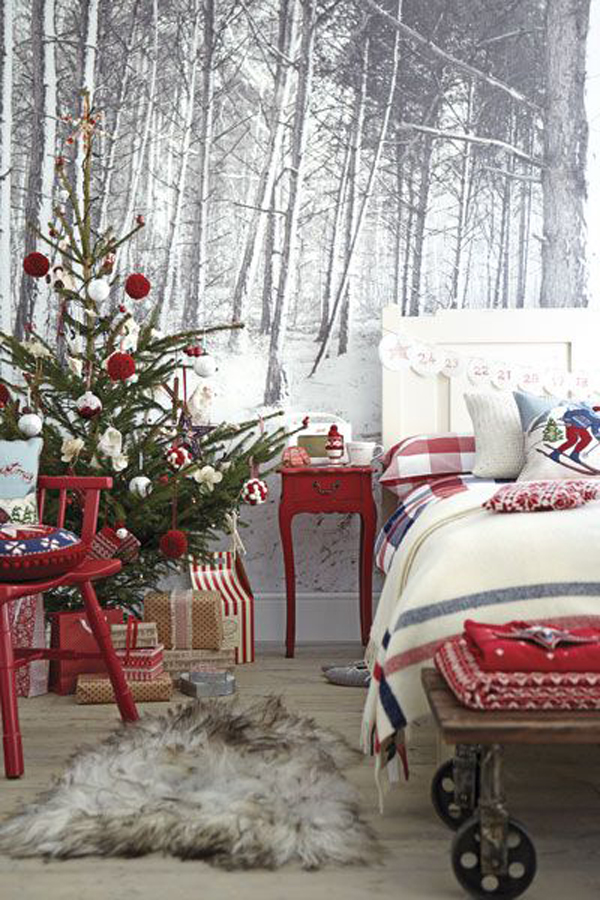 christmas-bedroom-with-winter-wallpaper