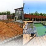 """เปลี่ยนพื้นที่ว่างหลังบ้าน ให้กลายเป็น """"สระว่ายน้ำสไตล์ธรรมชาติ"""" พร้อมเฉลียงไม้และสวนหินรอบสระ น่าพักผ่อนสุดๆ"""