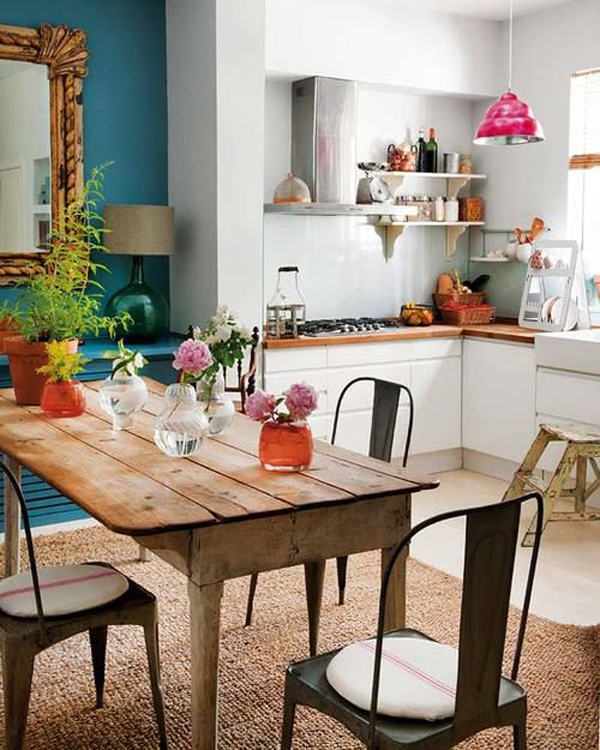 vintage-bohemian-kitchen-with-wood-table