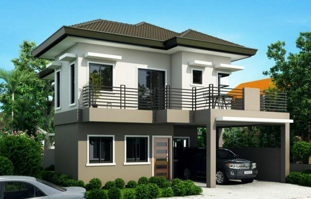 2 storey hip monotone modern house (1)