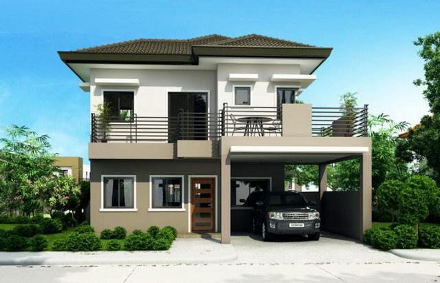 2 storey hip monotone modern house (2)
