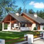บ้านหลังคาจั่วร่วมสมัย ตกแต่งสวยงามจากวัสดุ มาพร้อมเฉลียงรองรับการใช้งาน