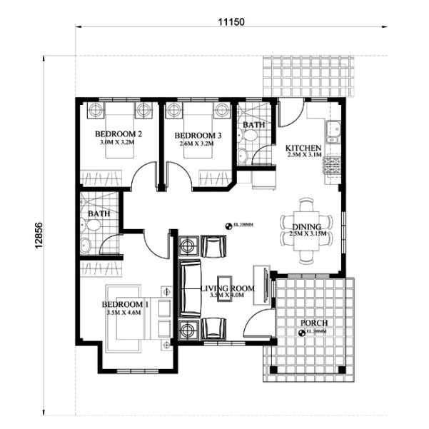 3 bedroom monotone hip roof house (4)