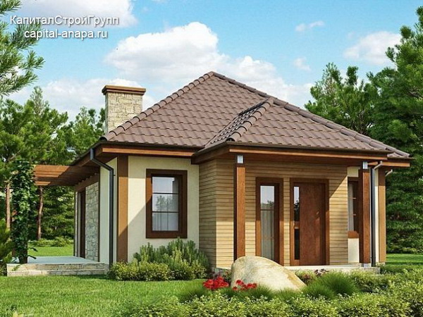 small hip roof stone brick wooden house (1)