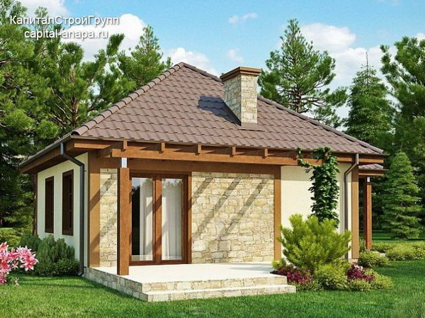 small hip roof stone brick wooden house (2)