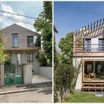 บ้านสองชั้นสไตล์โมเดิร์น เก๋ไก๋ด้วยรูปทรง ผสมวัสดุจากปูนเปลือยและไม้