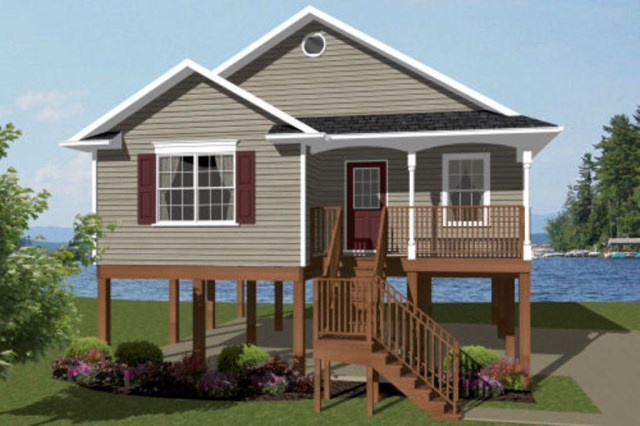 2 1 for Raised waterfront house plans