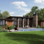 บ้านโมเดิร์นพร้อมสระว่ายน้ำ ตกแต่งด้วยไม้และหิน ทามกลางสวนที่ร่มรื่น