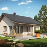 บ้านเดี่ยวร่วมสมัยหลังคาทรงจั่ว ขนาดเล็กกะทัดรัด มาคู่กับเฉลียงไม้ริมบ้าน
