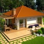 บ้านเดี่ยวร่วมสมัย ขนาดเล็กกะทัดรัด มาพร้อมเฉลียงและซุ้มไม้