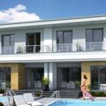 บ้านแฝดสไตล์โมเดิร์น ตกแต่งสวยงามด้วยคอนกรีต มาพร้อมสระว่ายน้ำขนาดเล็กๆ