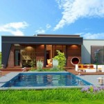 บ้านโมเดิร์นรูปทรงเรียบง่าย ตกแต่งสวยงามด้วยคอนกรีต มาพร้อมสวนสวยและสระว่ายน้ำ