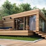 บ้านตากอากาศ รูปทรงกล่องแบบโมเดิร์น ตกแต่งด้วยไม้ทั้งหลัง มาพร้อมสวนหย่อมสมัยใหม่