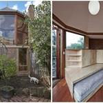 บ้านไม้สไตล์เคบิน ดีไซน์สองชั้น รูปทรงเหลี่ยมแปลกตา มาพร้อมบันไดวน ท่ามกลางสวนสวย