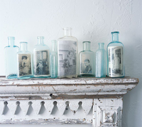 vintage-display-family-photo-wall-on-bottles