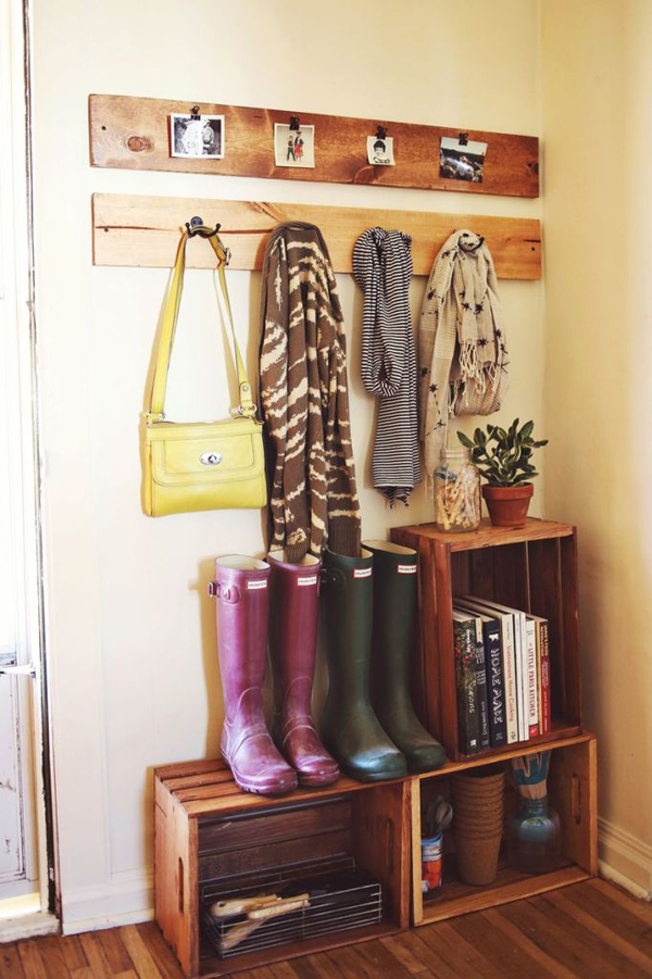 wood-crate-shoes-coats-and-gardening-supplies