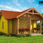 แบบบ้านสีเหลืองหลังเล็กดีไซน์กะทัดรัด แต่งสวยด้วยไม้ระแนง ในงบประมาณราคาเบาๆ
