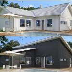 บ้านขนาดกลาง ดีไซน์รูปทรงให้ต่างกัน 2 แบบ ทั้งโมเดิร์นและคอทเทจ มาพร้อมสระว่ายน้ำขนาดเล็ก