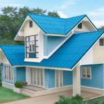 แบบบ้านร่วมสมัยขนาดสองชั้น โทนสีฟ้าสดใส ดีไซน์เอกลักษณ์ดึงดูดสายตา
