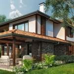แบบบ้านตากอากาศสองชั้น ตกแต่งสไตล์ธรรมชาติ สำหรับสร้างบนพื้นที่ลาดชัน