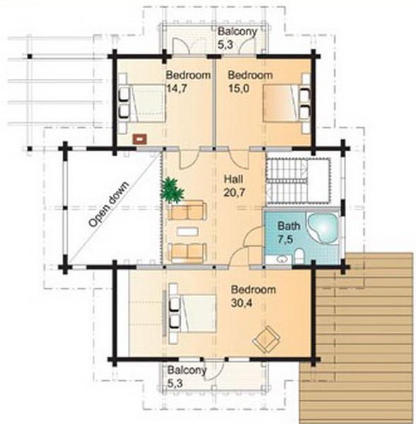 2 storey riverside cabin house x