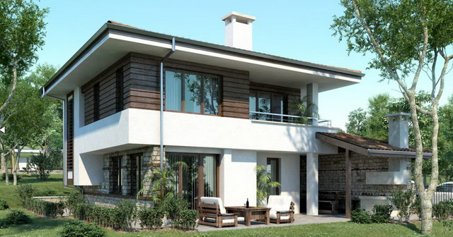 2 storey white wooden patterned modern house (1)
