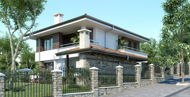 2 storey white wooden patterned modern house (2)