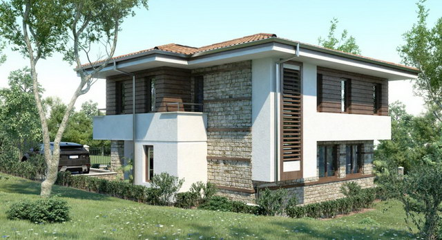 2 storey white wooden patterned modern house (3)
