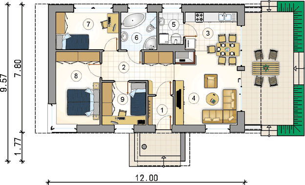 3 bedrooms 2 bathroom medium houses (1)