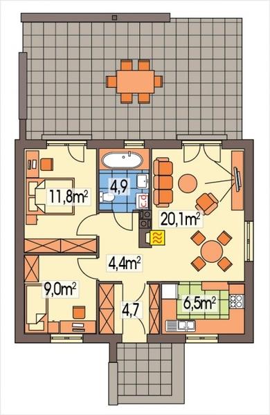 Contemporary house 2 bedroom 1 bathroom (1)