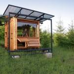 บ้านตากอากาศขนาด 10 ตร.ม. เหมาะกับการทำเป็นร้านกาแฟ ด้วยโครงเหล็กและไม้เรียบง่าย