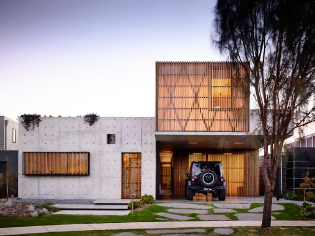 Modern house decor Wood and cement (1)