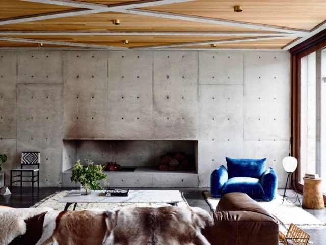 Modern house decor Wood and cement (3)