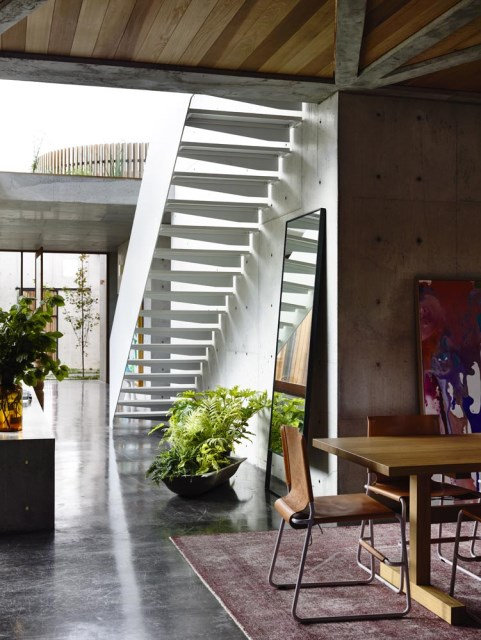 Modern house decor Wood and cement (4)