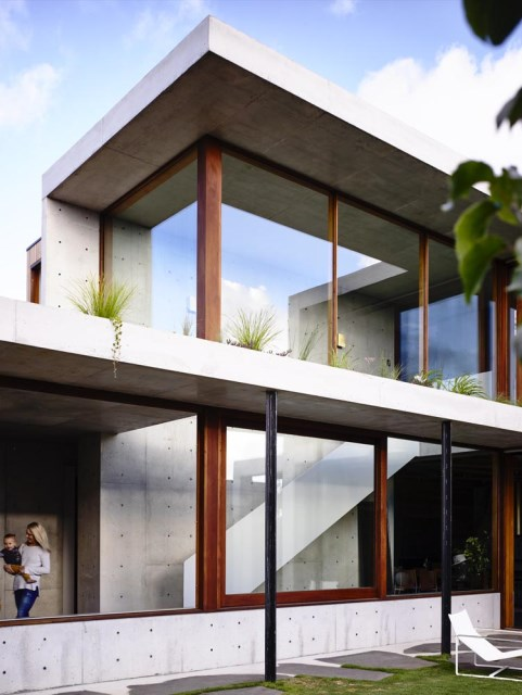 Modern house decor Wood and cement (8)